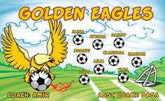 Golden Eagles B53472  digitally printed vinyl soccer sports team banner. Made in the USA and shipped fast by BannersUSA.  You can easily create a similar banner using our Live Designer where you can manipulate ALL of the elements of ANY template.  You can change colors, add/change/remove text and graphics and resize the elements of your design, making it completely your own creation.