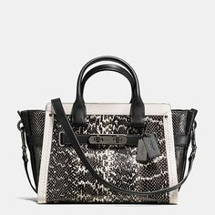BRAND #NEW Coach Black/White Swagger 27 Colorblock Exotic Embossed Leather Zip Top Handbag http://www.bonanza.com/listings/378307528