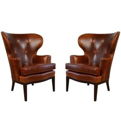 Early Wingback Chairs by Edward Wormley for Dunbar, circa 1940s | From a unique…