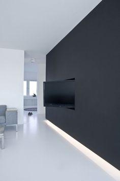 Schwarzen Wänden, Architektur Innen, Tarnung, Bildschirme, Schlafzimmer,  Schwarz, Architektur, Flat Screen, Space