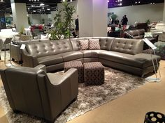 grey leather sectional and leather chiar by htl furniture
