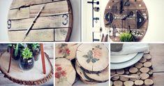 17 Creative Ways to DIY With Wood Slices Here are some tips to make something creative from wood slices for your home or as a gift. Check these 17 awesome ideas on how to decorate with wood slices. Diy Home Projects Easy, Chalkboard Welcome Signs, Rustic Mirrors, Diy Hanging, Wood Slices, Wood Crafts, Diy Wood, Wood Art, Woodworking Projects
