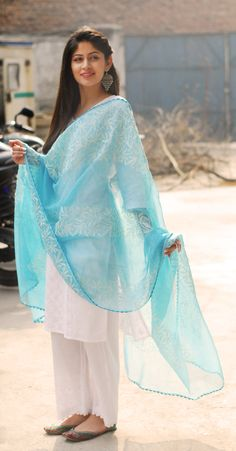 Pair the sky-blue chikankari dupatta with a straight kurta and pants