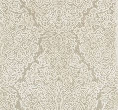 Aurelia White Gold (110640) - Harlequin Wallpapers - A large scale majestic damask, which resembles tooled leather embellished with metallic. Shown in White Gold colourway, please request sample for true colour. Paste the wall product. Wide width.