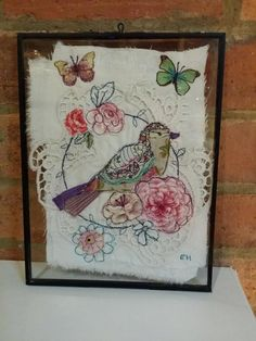 Emily Henson Applique bird and flowers vintage upcycled fabrics hinged frame… Free Motion Embroidery, Machine Embroidery Applique, Vintage Embroidery, Embroidery Art, Vintage Lace, Fabric Birds, Fabric Art, Fabric Crafts, Art Textile