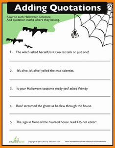 "This #Halloween themed quotation worksheet helps your child learn how to punctuate ""boo!"""