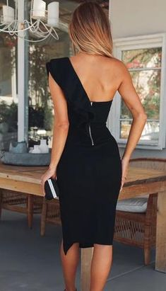 Shop Solid One Shoulder Ruffles Trim Slit Bodycon Dress right now, get great deals at Voguelily Elegant Dresses For Women, Sexy Dresses, Evening Dresses, Fashion Dresses, Formal Dresses, Summer Dresses, Wedding Dresses, Pretty Dresses, Casual Dresses
