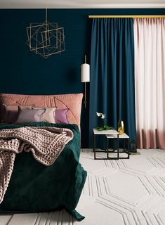 Bedroom – Future home ideas – - Eclectic Home Decor Teal Bedroom Decor, Bedroom Green, Bedroom Colors, Bedroom Ideas, Dark Teal Bedroom, Teal Bedrooms, Gold Bedroom Accents, Navy Bedroom Walls, Dark Blue Curtains