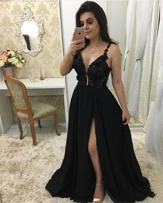 Plunging Neck Black Prom Dress with Split, Sexy Black Evening Party Dress - Prom Dresses Design Black Prom Dresses, A Line Prom Dresses, Bridesmaid Dresses, Formal Dresses, Formal Prom, Dress Black, Dress Prom, Party Dresses, Wedding Dress