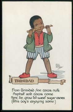 """1910's - by HGC Marsh Lambert from a children of the world series - boy in Trinidad is nibbling sugar cane (not """"playing the flute"""" as some captioners guessed)."""