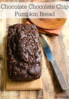 Chocolate Chocolate Chip Pumpkin Bread Recipe | http://www.ihearteating.com | #quickbread
