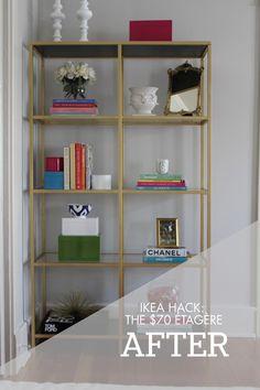 DIY ikea gold shelves