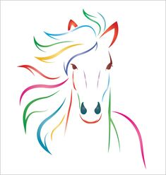 Colorful horse print - simple