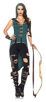 NEW Womens Sexy Rebel Robin Hood Outfit Adult Halloween Fancy Costume Dress - LG
