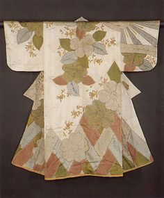 Kosode with Pattern of Cherry Blossoms Period: Edo period (1615–1868) Date: second half of the 17th century Culture: Japan Medium: Silk and metallic thread on silk; resist-dyed and embroidered satin Accession Number: 1980.222