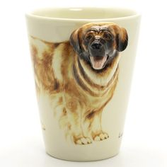 http://www.muddymood.com  Original hand sculpt and hand paint   Leonberger Dog Ceramic Mug Handmade.