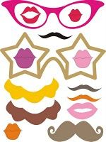 Free mustache and lips printable