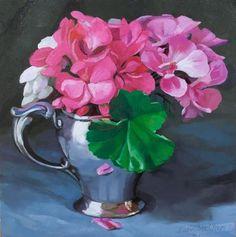 """November Geraniums"" - Original Fine Art for Sale - © Joanna Olson (My beautiful Xmas present from the artist, my sister)"