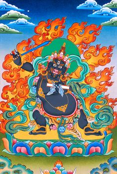 The Disease Specialist: Black Manjushri Practice Has a Reputation for Successfully Helping Victims of the Most Dangerous Diseases, Including Cancer, Heart Disease and Aids - Buddha Weekly: Buddhist Practices, Mindfulness, Meditation Tibetan Buddhism, Buddhist Art, Buddha Buddhism, Tibet Art, Nepal Art, Buddhist Practices, Gautama Buddha, Taoism, Mystique