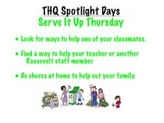 """This visual introduces students to """"Serve It Up Thursday,"""" the fourth of five """"Spotlight"""" days that I incorporated into our weekly schedule to give special attention to important ideas and priorities. Teaching Career, Weekly Schedule, Character Development, Your Teacher, Your Family, Social Skills, Priorities, Spotlight, Classroom Ideas"""