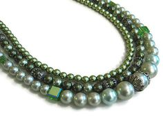 Gunmetal and Green Faux Pearl 3 Strand by SharkysWaters on Etsy, $35.00