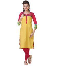 Buy Yellow Printed Kurti kurtas-and-kurti online