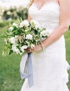 delicate white and green bouquet by Wild Heart Flowers