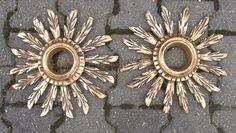 Pair Mid Century Wooden Sun Burst Star Bust Mirrors #<