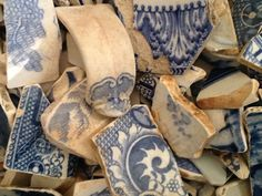 old blue china I found on the Thames Foreshore