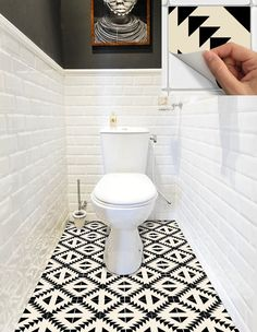Tile Sticker Kitchen, bath, floor, wall Waterproof & Removable Peel n Stick: Tuile Sticker cuisine salle de bain sol mur imperméable à Linoleum Flooring, Bathroom Flooring, Basement Flooring, Diy Flooring, Tile Stickers Kitchen, Wall Waterproofing, Tile Decals, Downstairs Toilet, Tile Design