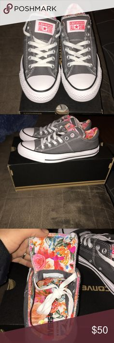 Brand new Women's gray converse sneakers!! Size 7! Brand new!! Got for my daughter for Christmas and she didn't like them and threw away the receipt! My loss is ur gain! :( Converse Shoes Sneakers