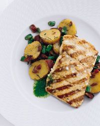Curto's Grilled Salmon with Bacon and Potato Hash Recipe on Food & Wine