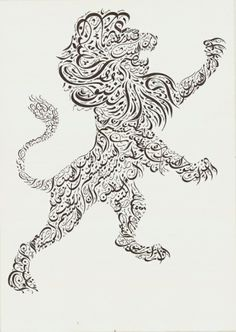 """""""Just because you see the lion's teeth, don't assume that the lion is smiling"""". Al-Mutanabbi This Arab proverb is written exactly six times within the image of the lion. إذا رأيتَ نيوبَ الليثِ بارزةً فلا تظنّ أنَّ الليثَ يبتسمُ More on the poet: http://en.wikipedia.org/wiki/Al-Mutanabbi"""