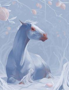 Fantasy Resting Albino Horse.