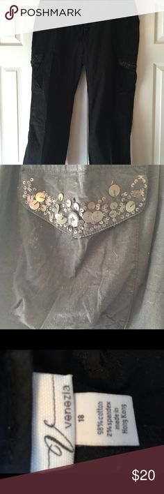 Lane Bryant black cargo type pants Black cargo type pants with side pockets with embellishments in excellent condition from a smoke free and dog friendly home. Lane Bryant Pants Straight Leg