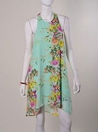Floral Print Chiffon Halter Dress #dresses #floralprint #loose-fitting #summer #flowy #mini