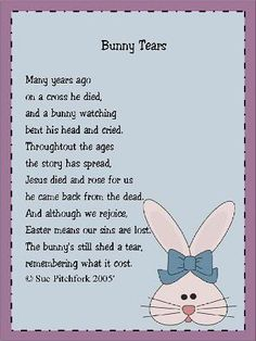 Image detail for -... com • View topic - Bunny Tears - Ideas/Easter Poems/Printable Cards