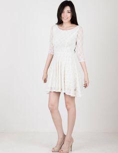 vanilla mood white lace dress