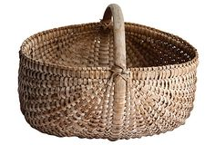 A primitive woven split oak gathering basket, American made. Beautifully aged, great shape and large size. 19th-C Antique.