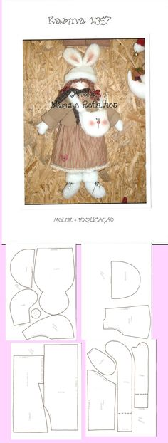 ute doll with bunny hat  Ragdoll pattern free /\