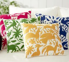 Indoor/Outdoor Otomi Embroidered Pillow | Pottery Barn