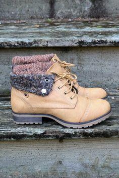 Mountain Trek Sweater Boots Tan Cuffed Booties