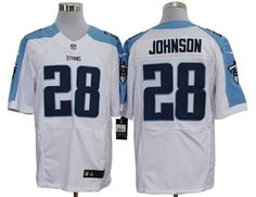 2012 Nike NFL Tennessee Titans 28# Chris Johnson White Jerseys Elite