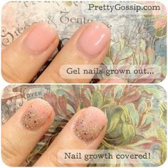 Pinned by www.SimpleNailArtTips.com SIMPLE NAIL ART DESIGN IDEAS - Quick Fix for Grown Out Gel Nails with a glitter gradient