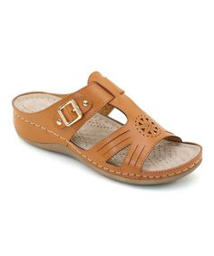 Camel Perforated Buckle Sandal