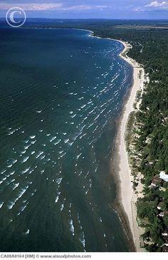 Aerial of Wasaga Beach, Ontario, The longest freshwater beach in the world!