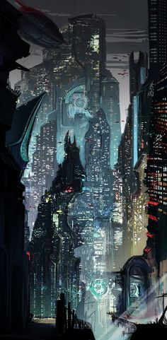 Cyberpunk, Cyber City, Futuristic Architecture, Future City by weebasaurus