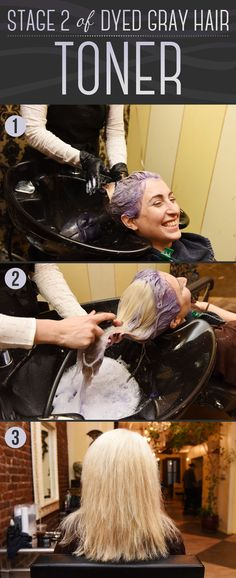 Next, purple toner is applied to take away any yellow undertones left by the bleach. | Here Is Every Little Detail On How To Dye Your Hair Gray