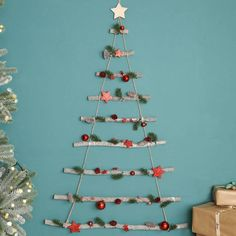 Red Bauble Christmas Tree Ladder by Dibor, the perfect gift for Explore more unique gifts in our curated marketplace. Hanging Christmas Tree, Large Christmas Baubles, Christmas Store, Christmas Crafts, Christmas Decorations, Star Decorations, Minimalist Christmas Tree, Simple Christmas, Alternative Christmas Tree