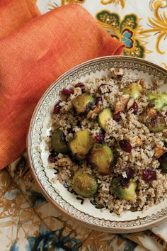 Warm Salad of Millet and Roasted Brussels Sprouts with Cranberries and Walnuts Recipe | Vegetarian Times